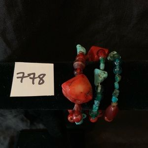 Jewelry - Multicolored Beaded and Turquoise Bracelet